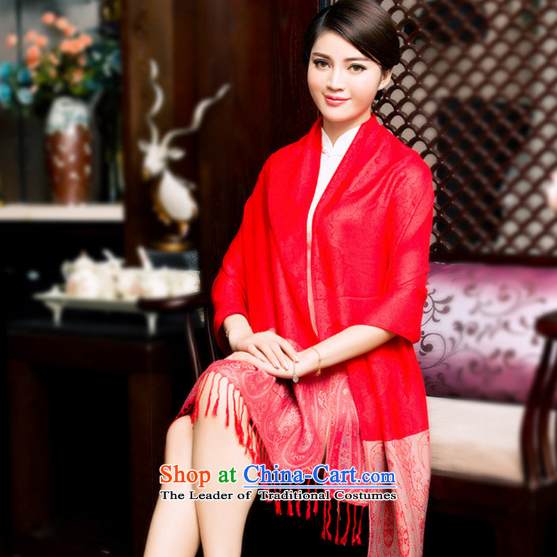 Ms. stylish TAOYEE National Jacquard Scarf edging soft sunscreen Fancy Scarf two large red