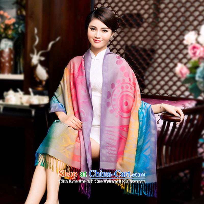 Taoyee winter wild scarf of ethnic jacquard edging office women cape scarf Pink
