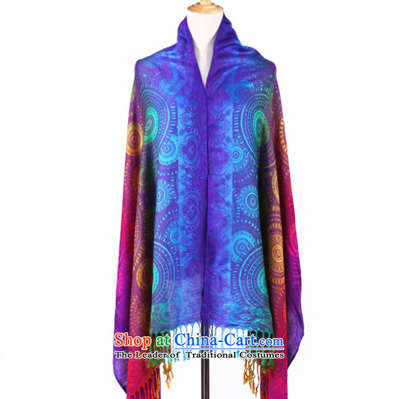 Sleek and versatile TAOYEE Seven Colored shawl ethnic autumn and winter long retro Jacquard Scarf Blue
