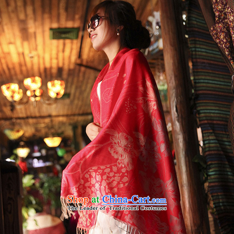 Sleek and versatile TAOYEE scarf female autumn and winter Ethnic Arts with two large shawl thick warm red scarf