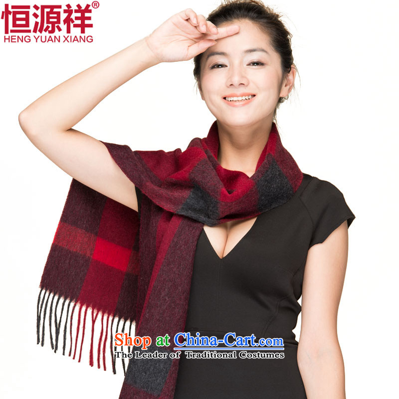 Hengyuan Cheung wooler scarf Ms. Plaid thick shawl scarf07#4313mauve deep spell Gray