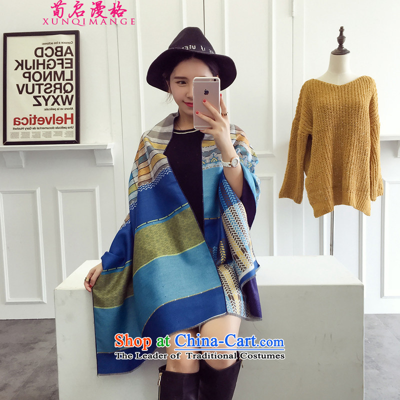 Sun Kai Man, autumn and winter pashmina shawl new female wild stylish warm XRP3319 Thick Blue