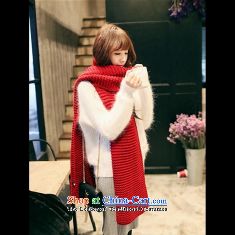 New warm winter female scarves knitted thick Korean long lines of solid color scurf men couples students around the history of Moire Thick Red