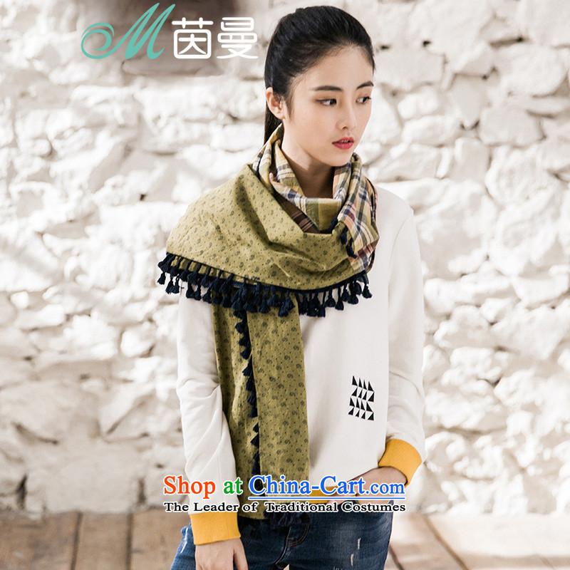 Athena Chu Cayman2015 autumn and winter new debris tartan stitching edging decorated women's scarf wild 8541400667 mustard yellow mustard yellow