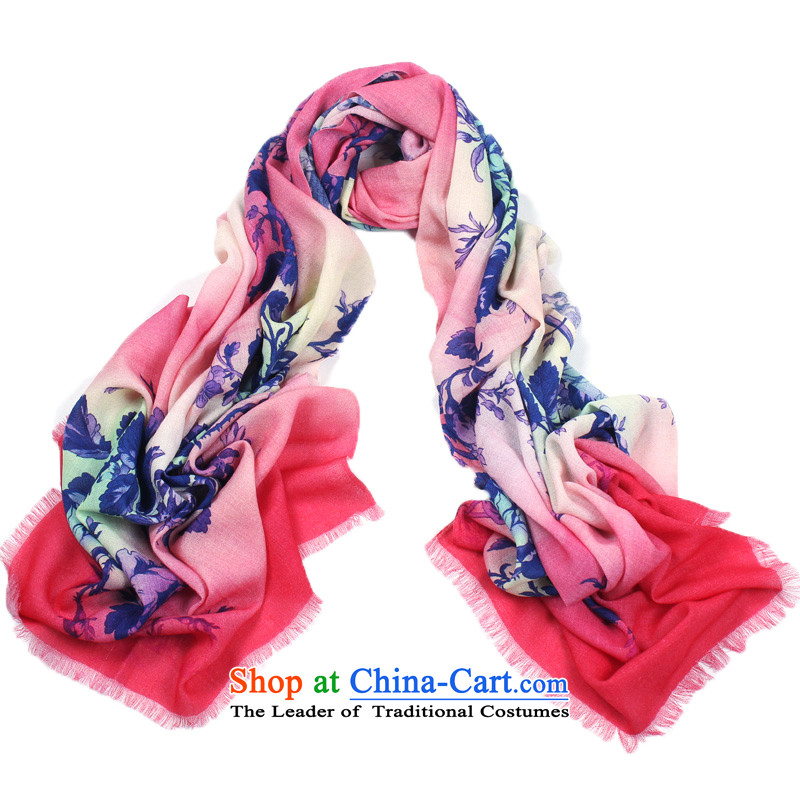 Shanghai Story winter new poster wool scarves, upscale warm shawl 100% Pure Wool gift scarf night mute flowers - Red