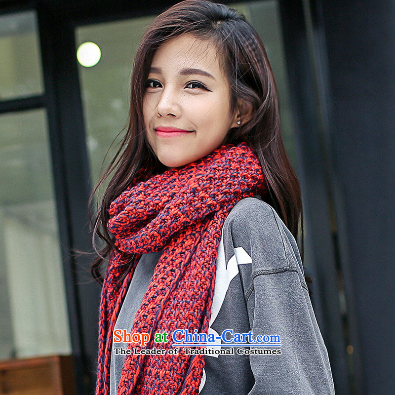The fog, scarves knitted new Korean men and women of thick universal warm winter couples a two-color-pin red