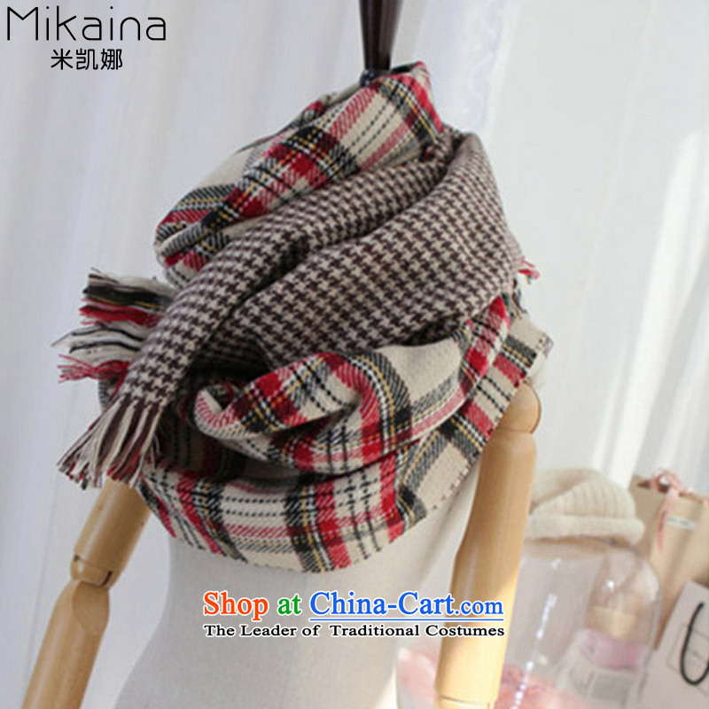 Mikai na chidori of large scarf 2015 autumn and winter duplex long warm latticed emulation _pashmina shawl chidori grid scarf Classic Red.