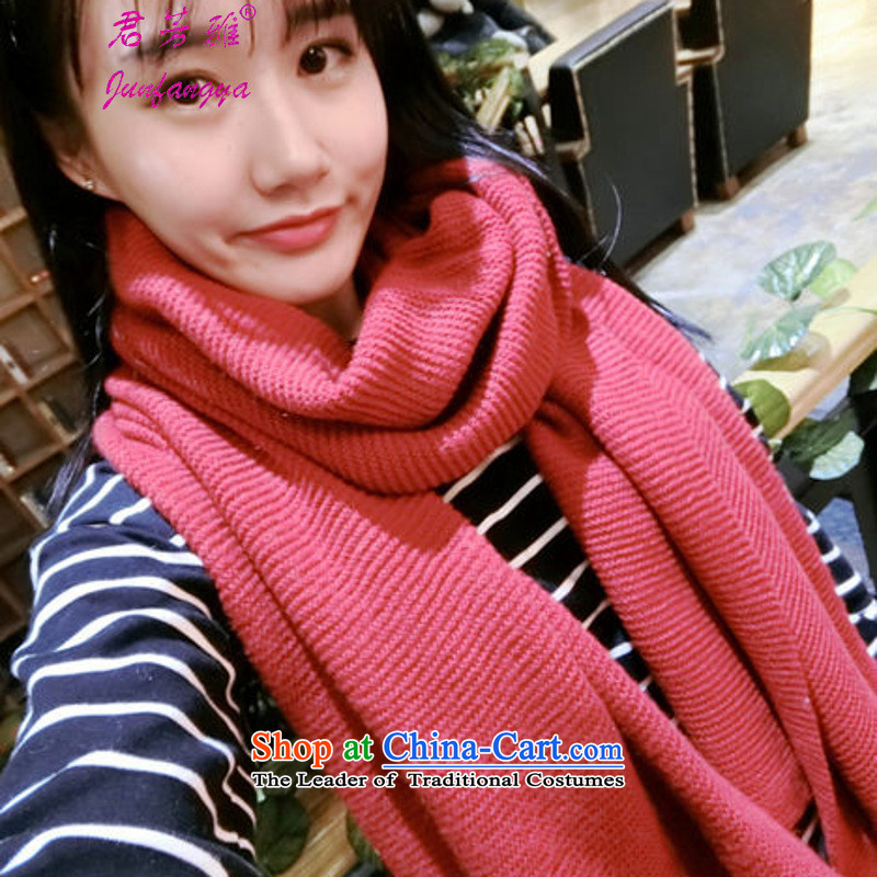 Kwan Fong Nga autumn and winter new Korean Thick Long Female Sleek and versatile Knitting scarves shawl bourdeaux
