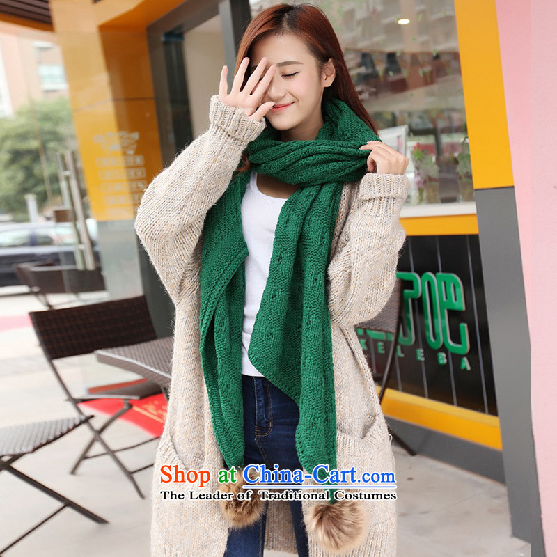The Korean version of the scarf Winter Sweater Knit female to female students Fancy Scarf4313a thick engraving ball scarf's Gross Gross ball - Green