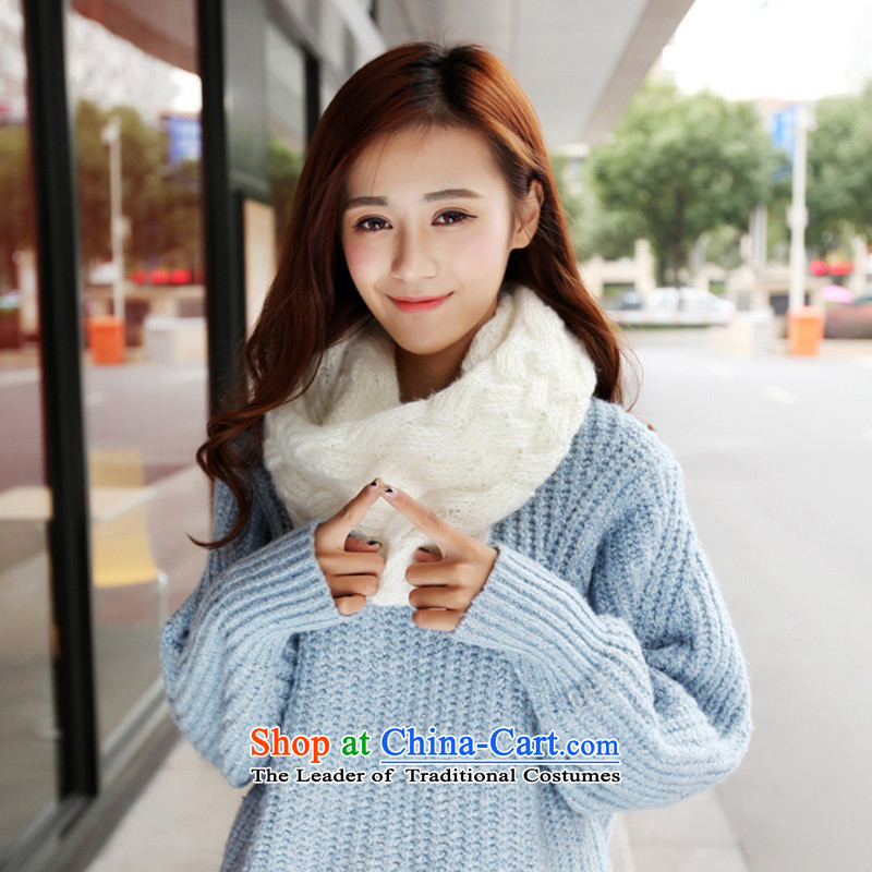 The Korean version of the scarf female students in Korea during the spring and autumn girls winter Winter Sweater Knit wild long thick couples a Chelsea Wai Shing - White