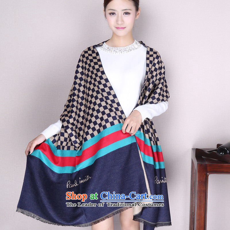 Europe and the British Grid couples scarf of autumn and winter warm emulation cashmere shawls-Thick Long Female scarf blue frock