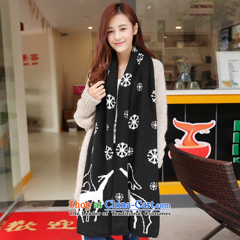 The Korean version of the scarf female students in Korea during the spring and autumn thickened winter couples a female Winter Sweater Knit wild long at Deer - Black