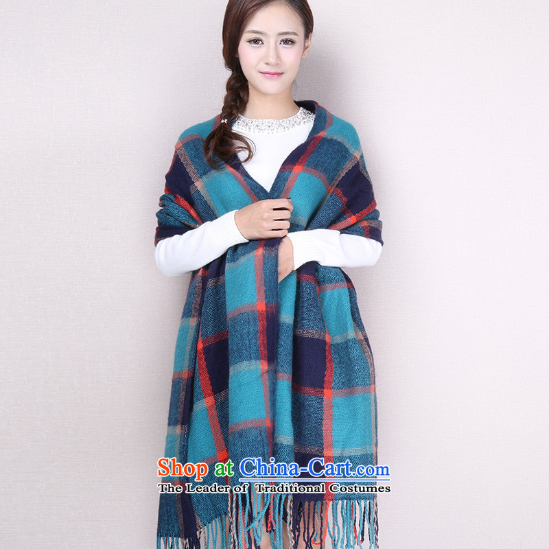 Plush scarf female to male autumn and winter Korean spelling color long increase a checkered Ms. air-conditioning shawl scarf dual-use at a large compartments - Blue