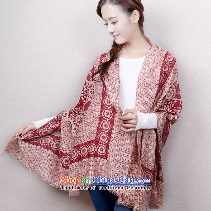 Stamp cotton linen scarves, autumn and winter long scarf national culture of quality silk scarf shawl women van scarves with porcelain Scarf - Wine red