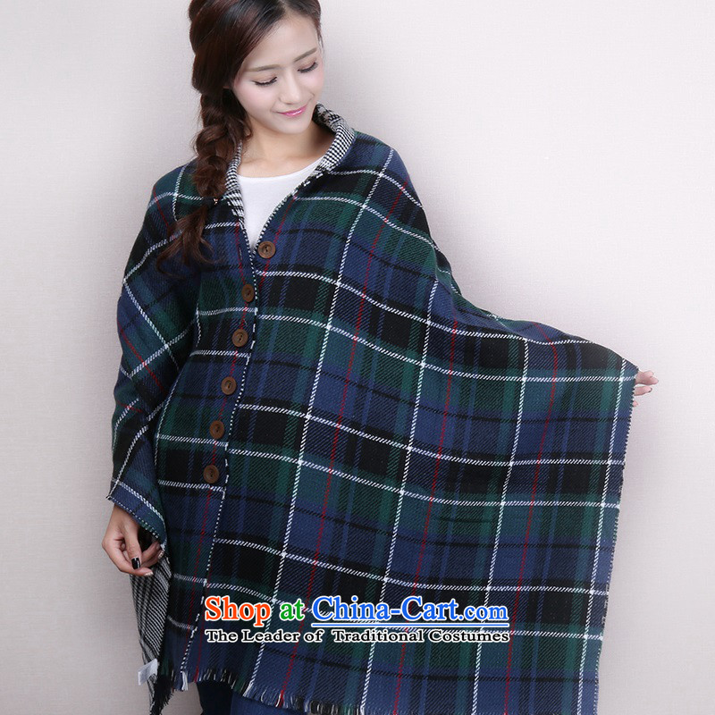 Large segments of the cape warm thick increase two mantle girl from Tibet wind intensity thick shawl scarves with clasps Scarf - Blue