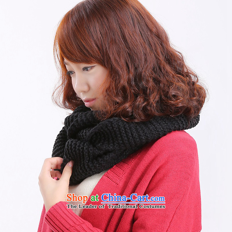 The Korean version of the scarf of Autumn and Winter Sweater Knit kit head thick a female Korean male and female students winter couples chokeholds couples A - Black
