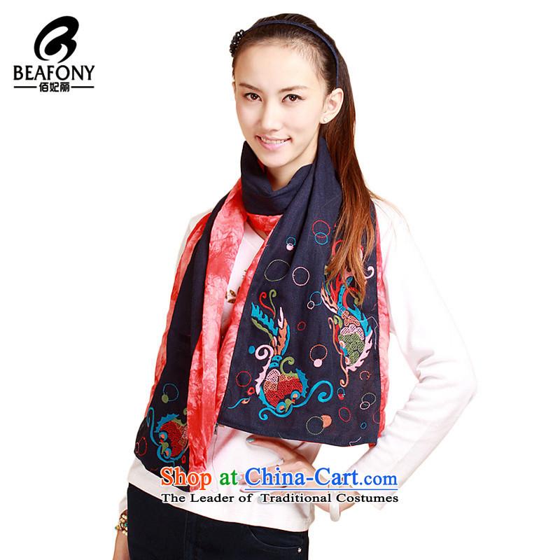 Bai Fei Li ethnic tie-dye stitching knocked color embroidery Lei Yue Mun bubble scarf shawl embroidered聽WB1011聽orange see commodity Properties