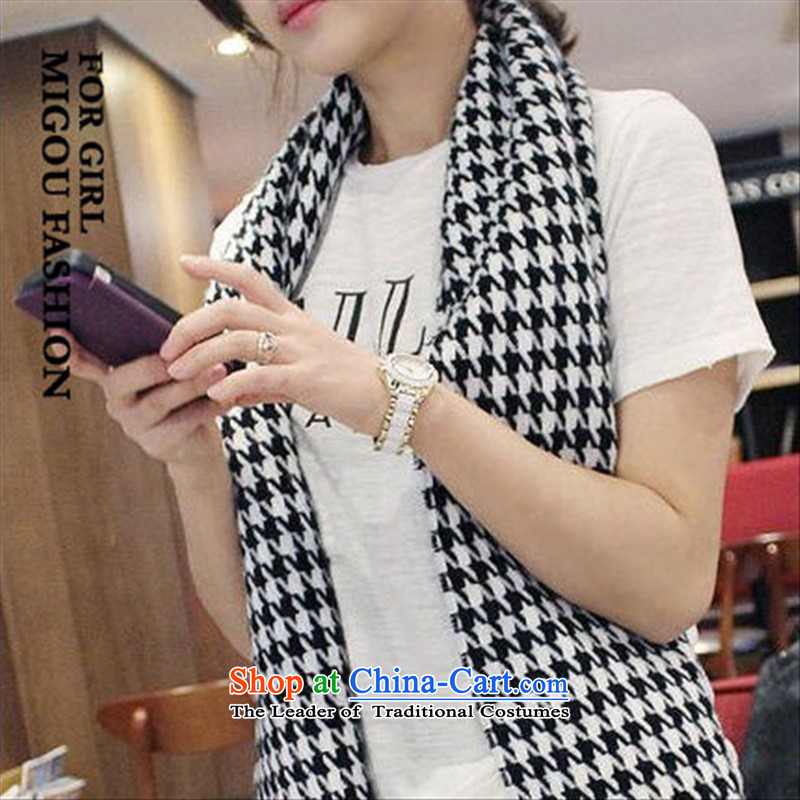 The Korean version of the cultural and arts van sleek black and white chidori Ms. Fancy Scarf intensify Knitting scarves warm black and white chidori Grid