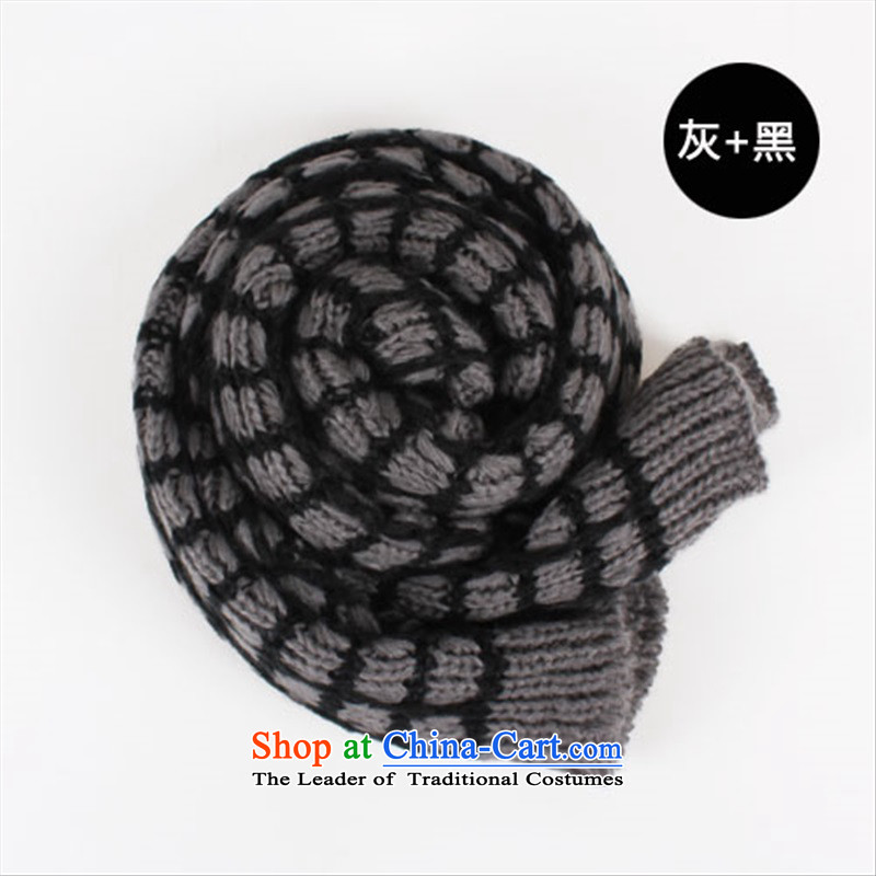 The Korean version of the new wild winter thick warm color spell the end of the scarf line scurf squares Ms. Knitting scarves gray - Black