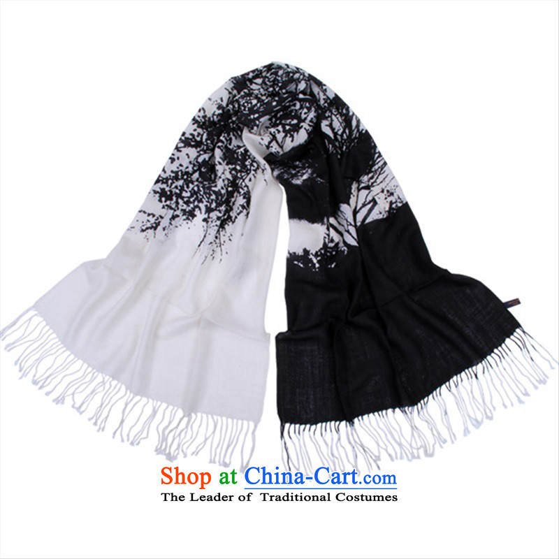Hand-painted wool Wishing Tree Fancy Scarf Women 2015 autumn and winter new black