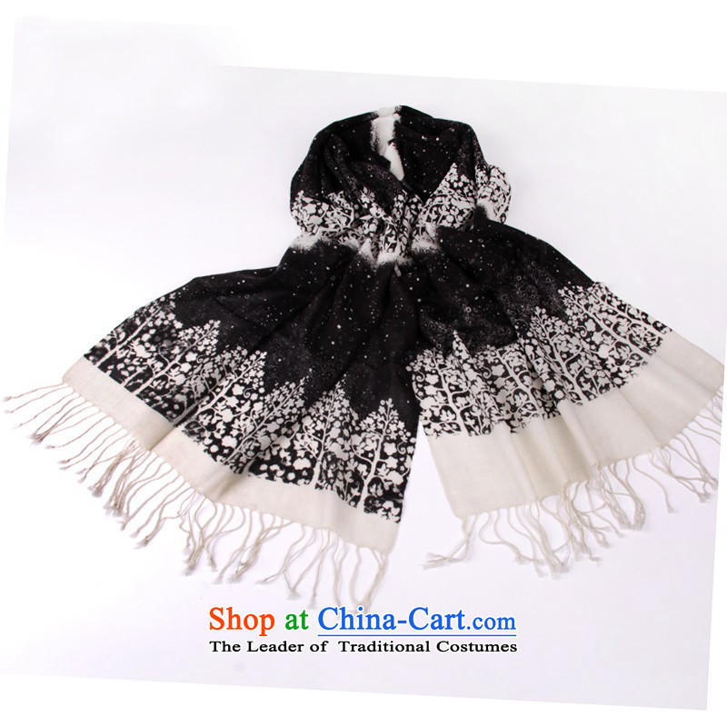 2015 new woolen scarves shawl Ms.4313small tree flowers edging Black Scarf