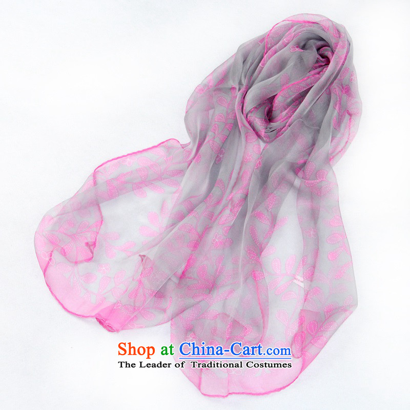 2015 Spring/Summer New President Dos Santos long thin silk scarf leaves silk scarf flowers on a gray background toner flower