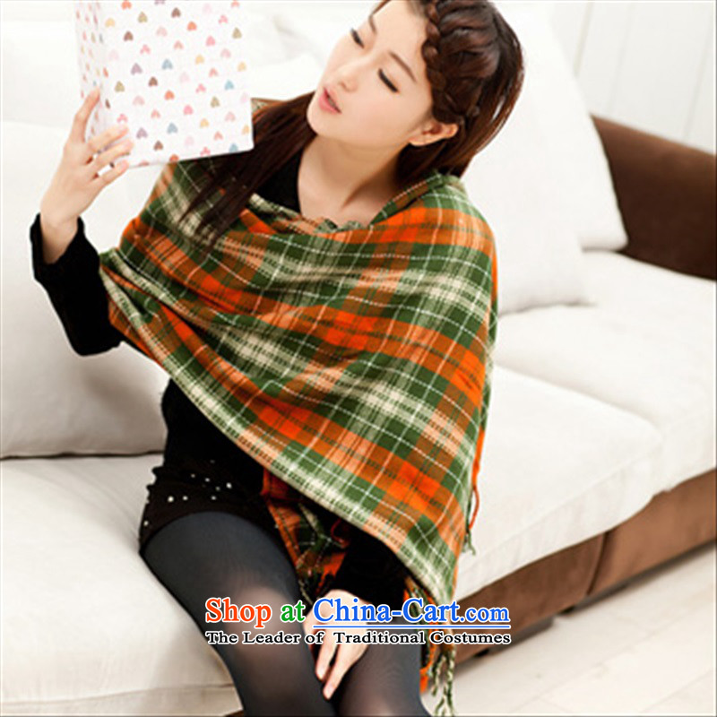 The Korean version of the 2015 autumn and winter latticed men and women knitted cardigans a taxi with two English style sub scarf Light Green Orange Small Wire