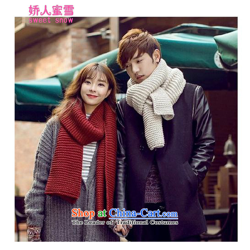To persons of autumn and winter 2015 Michelle taxi Korean men and women students Knitting scarves a couple black