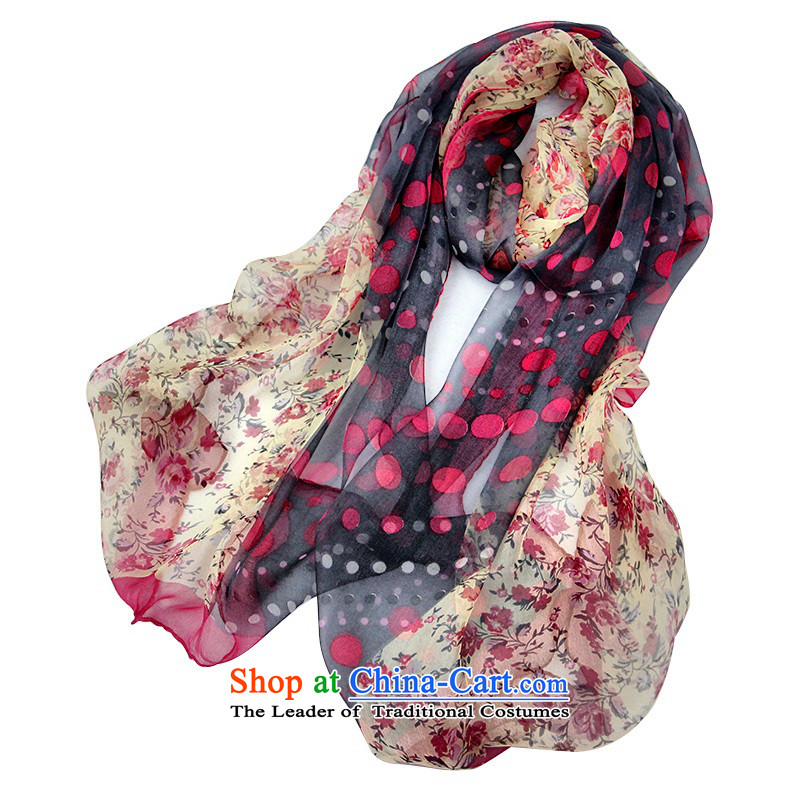 The spring and summer of 2015 women silk scarf herbs extract dot country torn silk scarf scarf red and black toner