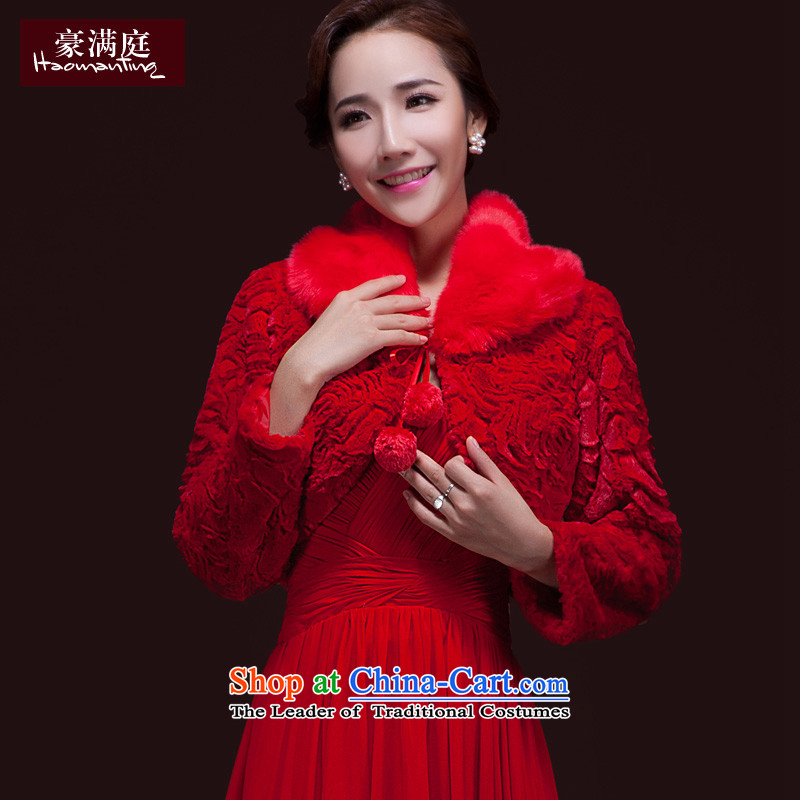 2015 Autumn and winter new marriages Red Shawl thickened gross wedding dresses cheongsam long-sleeved jacket warm red