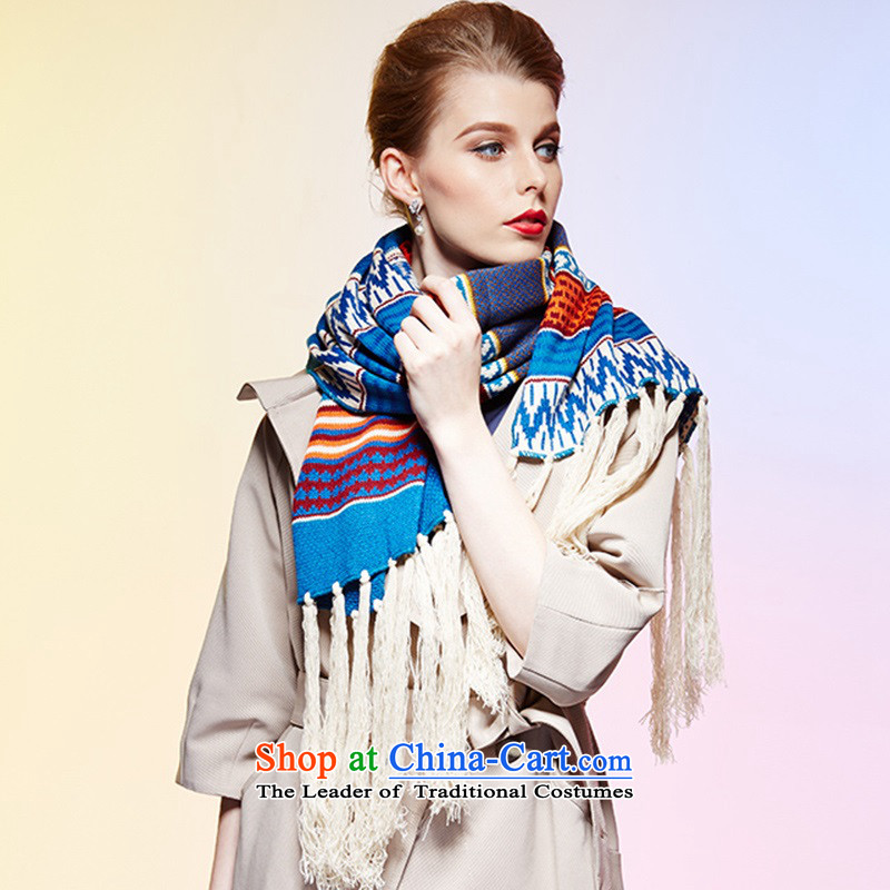 Bohemia Ms. ethnic autumn and winter retro long Thick edging Knitting scarves knitted long thick, genuine products.