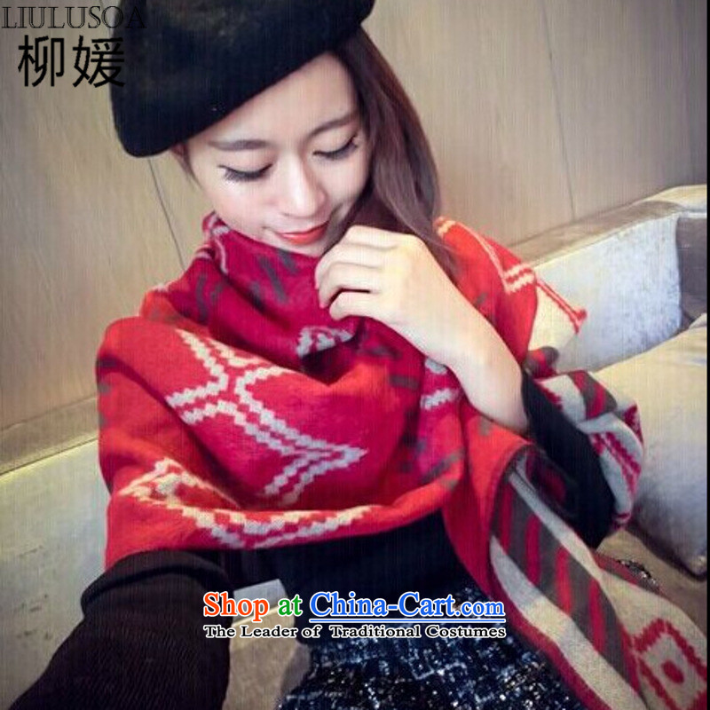 Yoo won the new version of the Yuan, scarf of autumn and winter geometry diamond lattices emulation cashmere shawls female 5018# large red