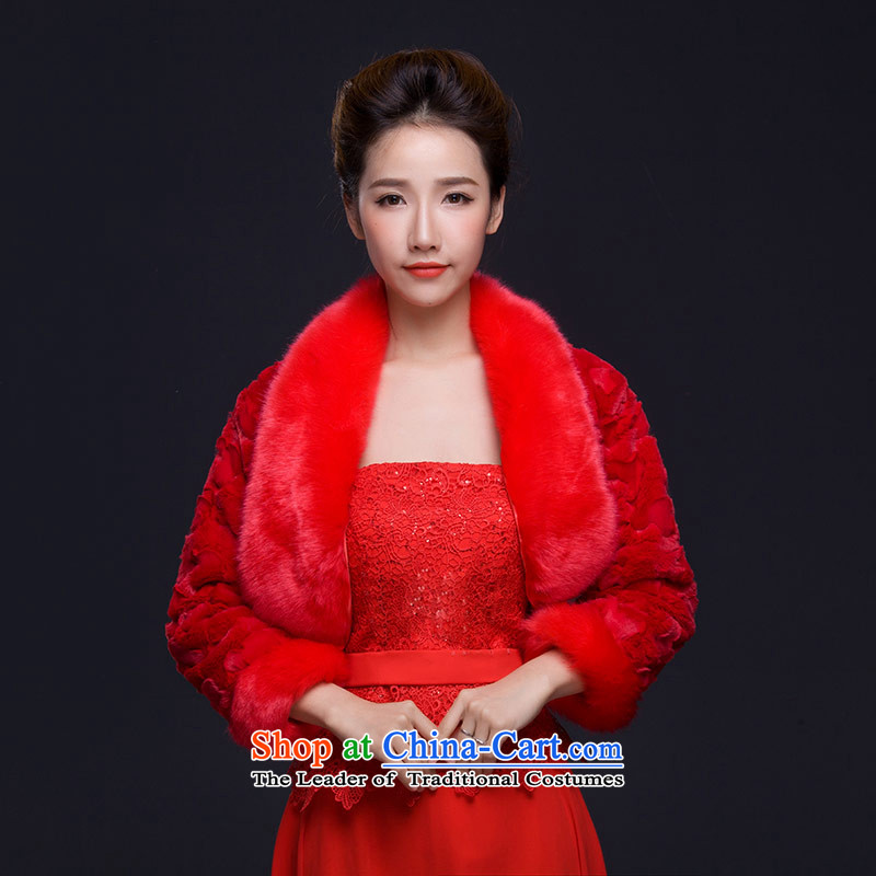 Qing Hua yarn of autumn and winter 2015 new gross shawl wedding dresses gross shawl marriages shawl long-sleeved white thick red red