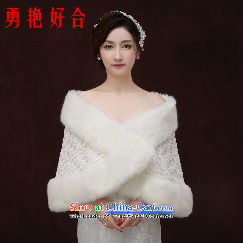 Yong-yeon and 2015 new bride wedding shawl white wedding dress gross shawl autumn and winter bridesmaid warm jacket white winter
