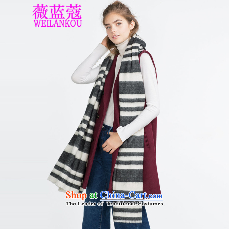 Ms Audrey EU Blue 2015 Winter Coe new stylish black-and-white streaks in the Korean version of the soft scarf wild shawl scarf Picture Color