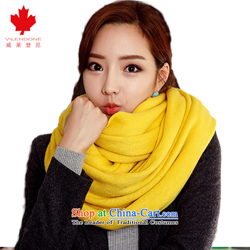 Verisign and scarves leyden female autumn and winter shawl scarves knitted scarves knitted wild pure color Knitting scarves women a warm yellow scarves