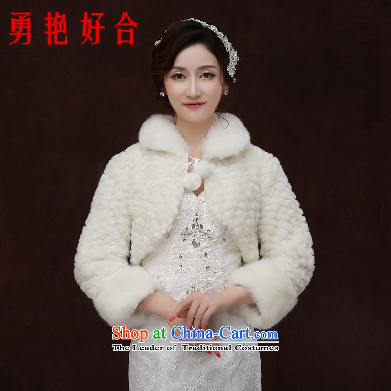Yong-yeon and 2015 autumn and winter new bride shawl female long-sleeved white overcoat thick wedding dress wedding gross shawl white winter