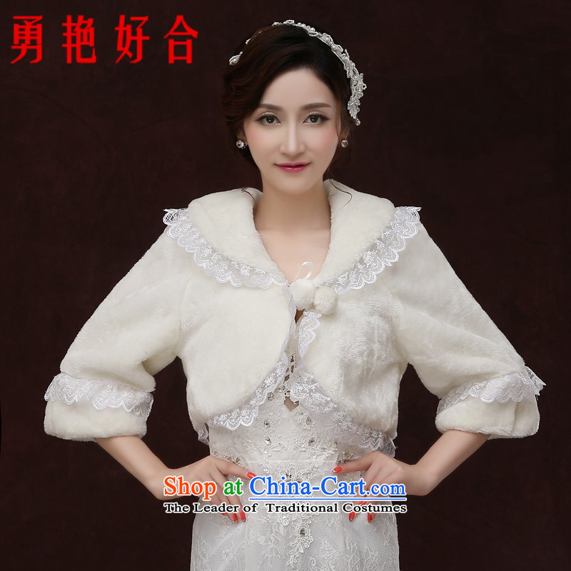 Yong-yeon and autumn and winter new bride shawl female long-sleeved white overcoat thick wedding dress wedding gross shawl white winter