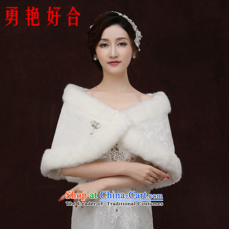 Yong-yeon and 2015 new bride wedding gross shawl winter coats qipao marriage bridesmaid dress shawl thick Warm White Winter