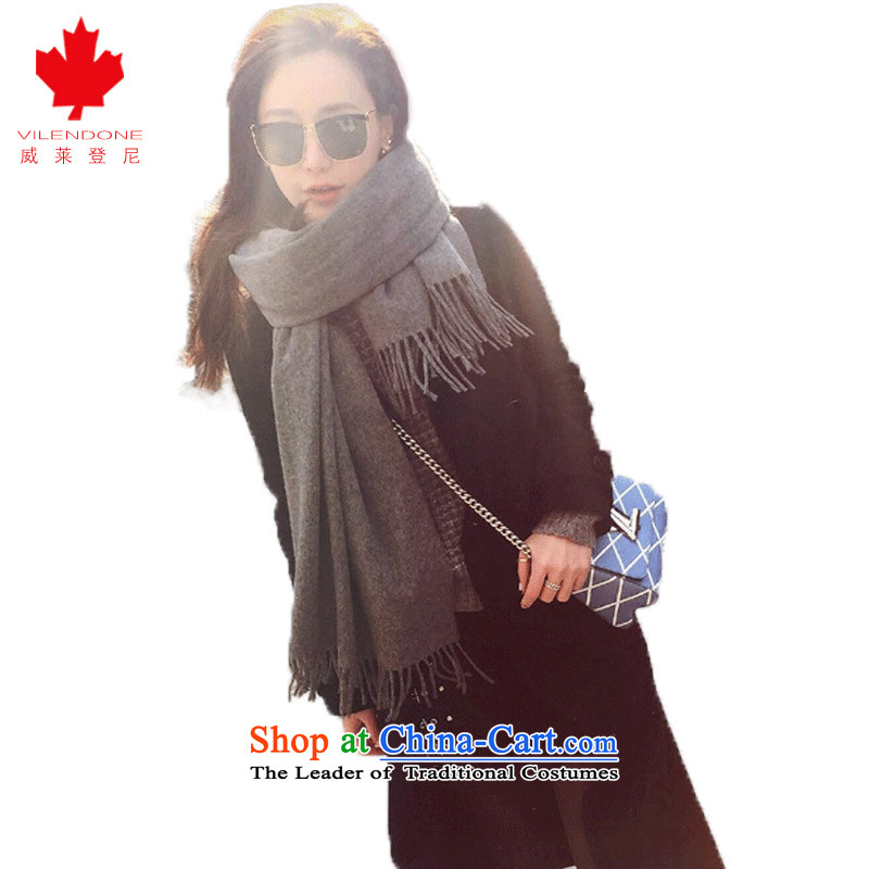 President of the scarf autumn and winter air conditioning pashmina shawl emulation 12 Tse with baby acne solid color wool scarves increase warm grand prix scarf Gray