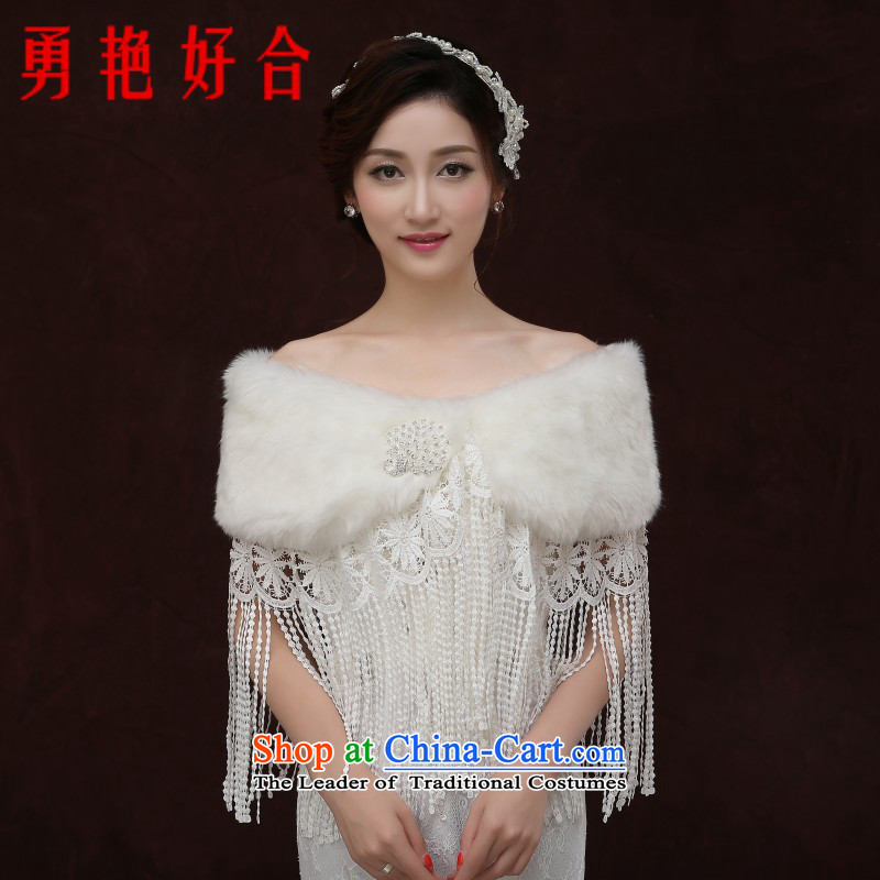 Yong-yeon and 2015 new bride bridesmaid dress woolen plush shawl wedding cloak of autumn and winter coats thick white winter