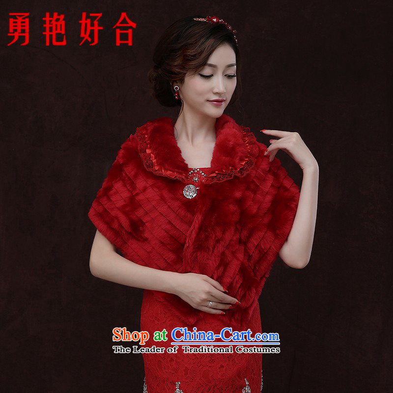 Yong-yeon and 2015 autumn and winter new gross shawl thick red warm marriages wedding jacket Red Winter