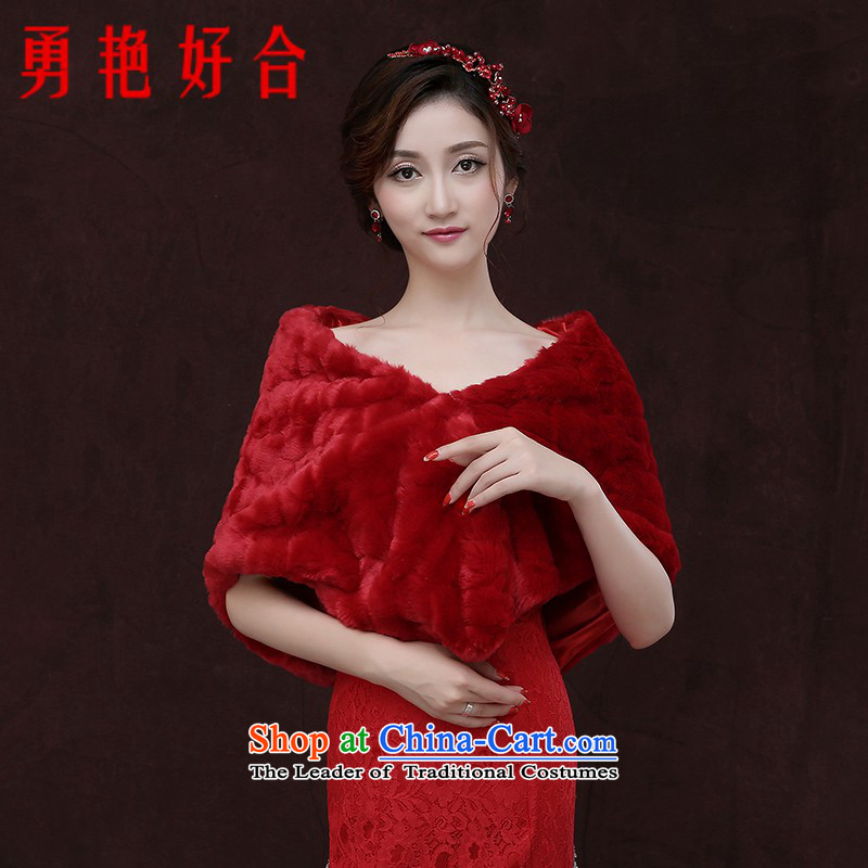 Yong-yeon and thick warm red bride wedding dresses shawl scarf of autumn and winter shawl Red Winter