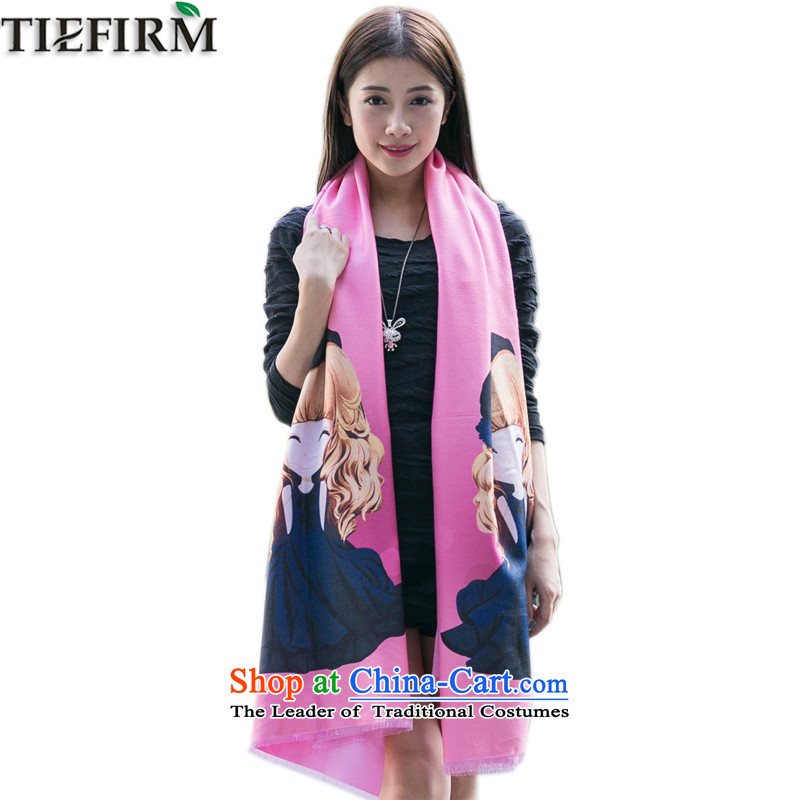 In spring and autumn TIEFIRM2016 stylish and simple lovely dolls avatar stamp emulation cashmere shawls warm and refined atmosphere thick large Pink Pink scarf