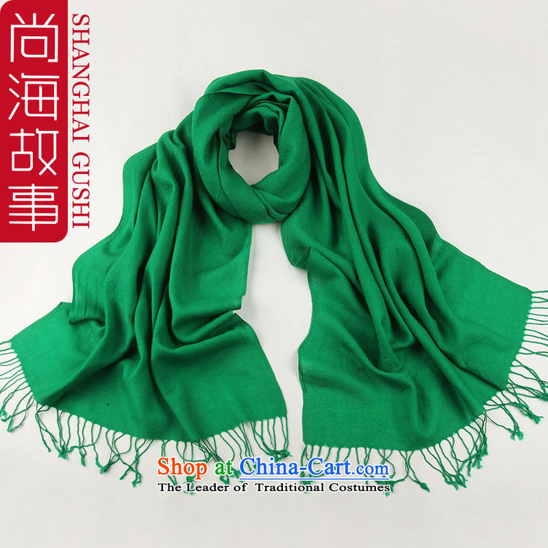 Extra-long, Ms. wild fancy scarf two with women arts pure color a Korean version of Wool Velvet autumn and winter lake -OW0106 green