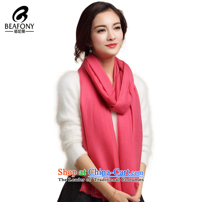 Bai Fei Li dongqiu warm color of Pure Wool scarf female wild stylish shawl pure color awatermelon red see WYM1006 commodity Properties