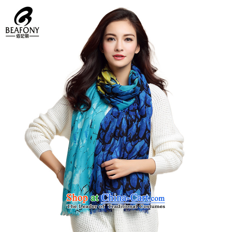 Bai Fei Li dongqiu new women's 100 Wool stylish long towel stamp scarves, a female WYR1031 blue see commodity Properties