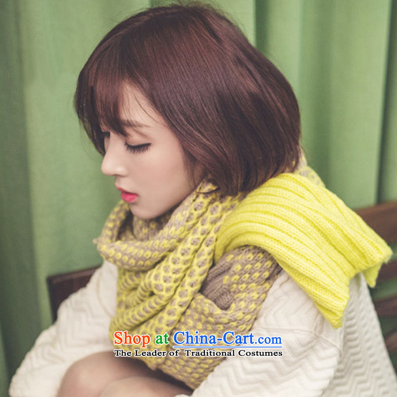 The Korean version of the autumn and winter thick winter Knitting scarves knitted warm longer Ms. Wai Shing su0929聽210CM_40CM yellow