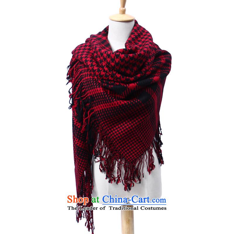Shanghai Story stylish Western unisex 100_ wool chidori grid shawl high-end flow su scarves wool and black and red