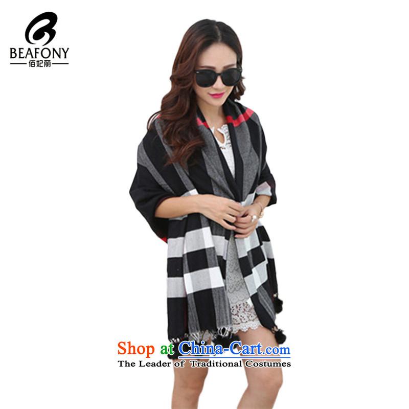 Bai Fei Li dongqiu rabbit hair Ball Grid emulation pashmina use two streams of warm scarf WJF031 black